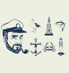 Bundle seven nautical gray elements set icons vector