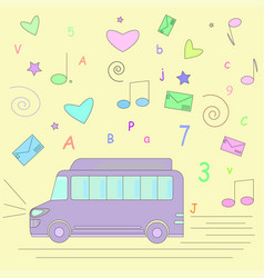 Bus road lights trip heart musical notes sta vector