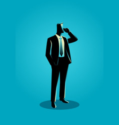 Businessman in formal suit standing while on phone vector