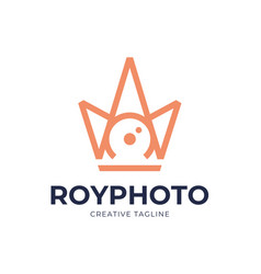 camera shutter photography with royal crown logo vector image