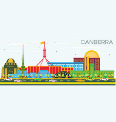 canberra australia city skyline with color vector image