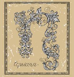 capricorn or goat zodiac sign on frame vector image