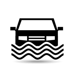 Car and water icon vector
