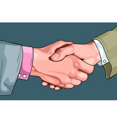 cartoon male hands shaking vector image