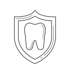 Cavity protection line icon vector