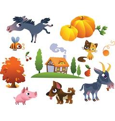 Collection farm animals vector