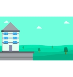 Collection of house landscape flat vector