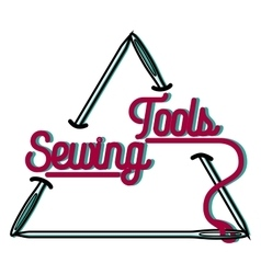 color vintage sewing emblem vector image