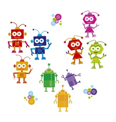 colorful cute robot set on white background vector image