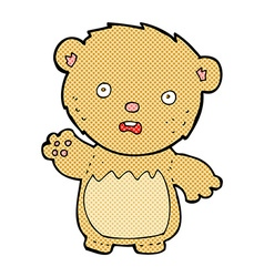 Comic cartoon worried teddy bear vector