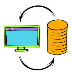 computer monitor with pile gold coins icon vector image