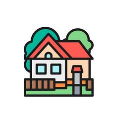 country house cottage landscape flat color line vector image