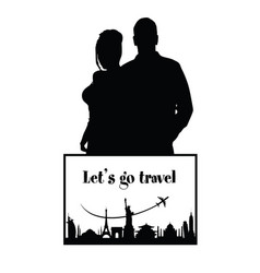 Couple silhouette with travel sign vector