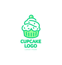 cupcake sweet dessert food bright line logo vector image