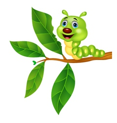 Cute caterpillar cartoon eating leaf vector image