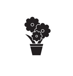 cute flower pot black concept icon cute vector image
