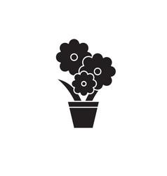 cute flower pot black concept icon cute vector image