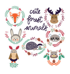 cute forest elements animals and plants vector image