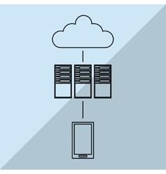 Data center and smartphone design vector