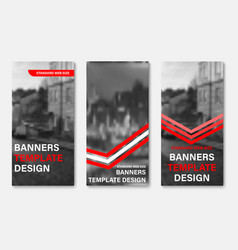 design of vertical web banners with red and white vector image