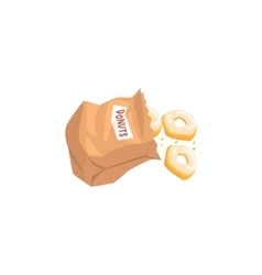 Doughnuts Falling Out From Paper Bag vector