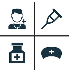 drug icons set collection of cap stand drug vector image