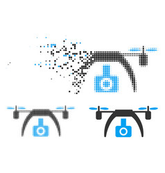 Dust pixelated halftone drone video camera icon vector