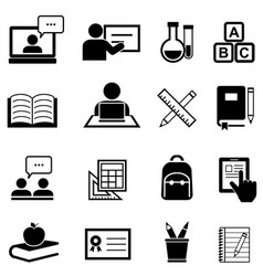 education learning and back to school icons vector image