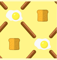 eggs grill sausages and bread seamless pattern vector image
