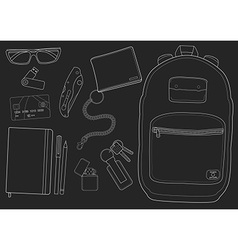 Every day carry man items chalkboard vector