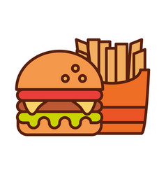 fast food burger and french fries dinner and menu vector image