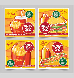 fast food hamburger fast food meals banners tasty vector image
