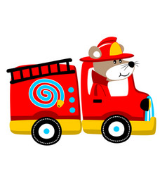 Firefighter cartoon with funny driver vector