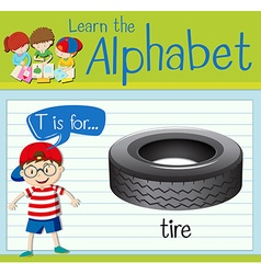 Flashcard letter T is for tire vector image
