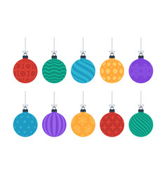 flat colorful christmas ornate tree toys or balls vector image
