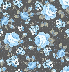 Floral pattern with blue roses vector