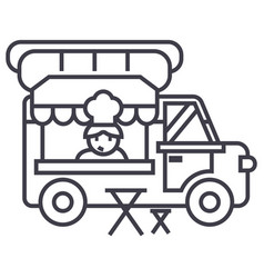 food truckstreet mobile kitchen line icon vector image