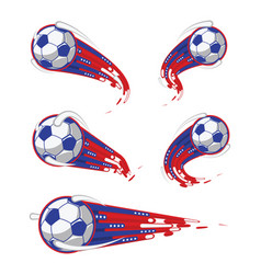 Football white blue red soccer symbols speed set vector