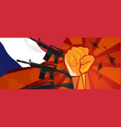France war propaganda hand fist strike with arm vector