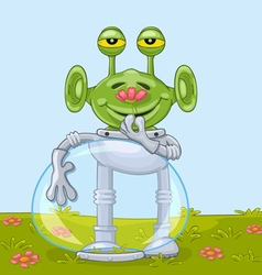Funny alien with flower vector image