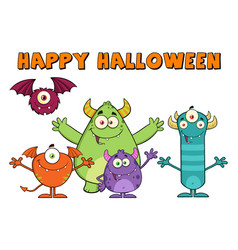 Funny monsters with happy halloween text vector