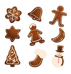 Gingerbread cookies on white vector