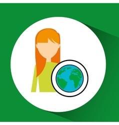 Girl concept ecological globe vector