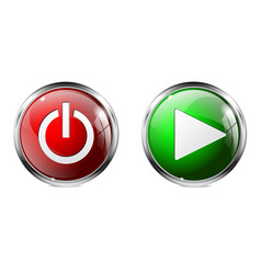 Glass round buttons power and play 3d icons vector