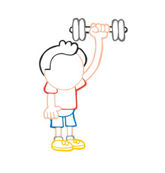 Hand-drawn cartoon of man standing pumping vector