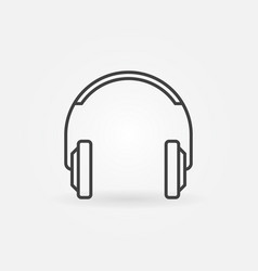 headphones simple icon in thin line style vector image