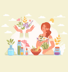 herbal medicine and homeopathy healthcare concept vector image