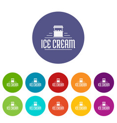 ice cream stall icons set color vector image