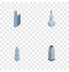 Isometric skyscraper set of exterior tower vector