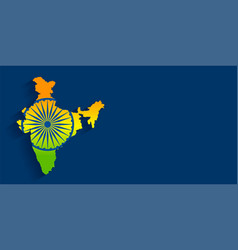 Map of india with flag tricolor background vector
